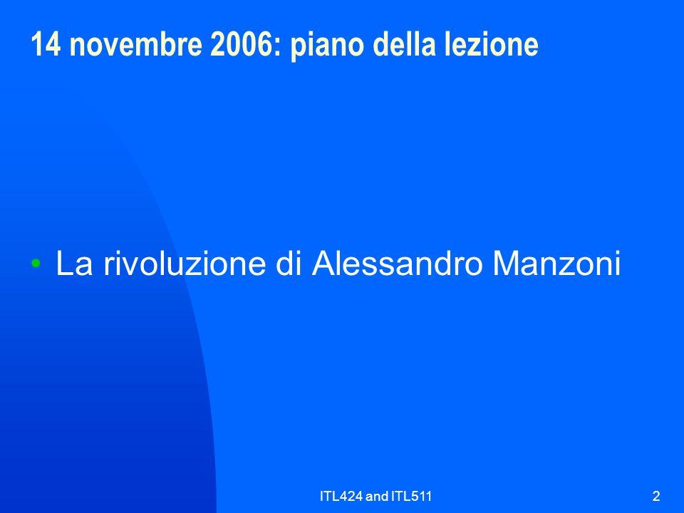14 novembre 2006: piano della lezione