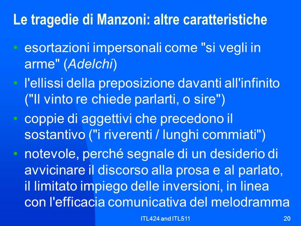 Le tragedie di Manzoni: altre caratteristiche