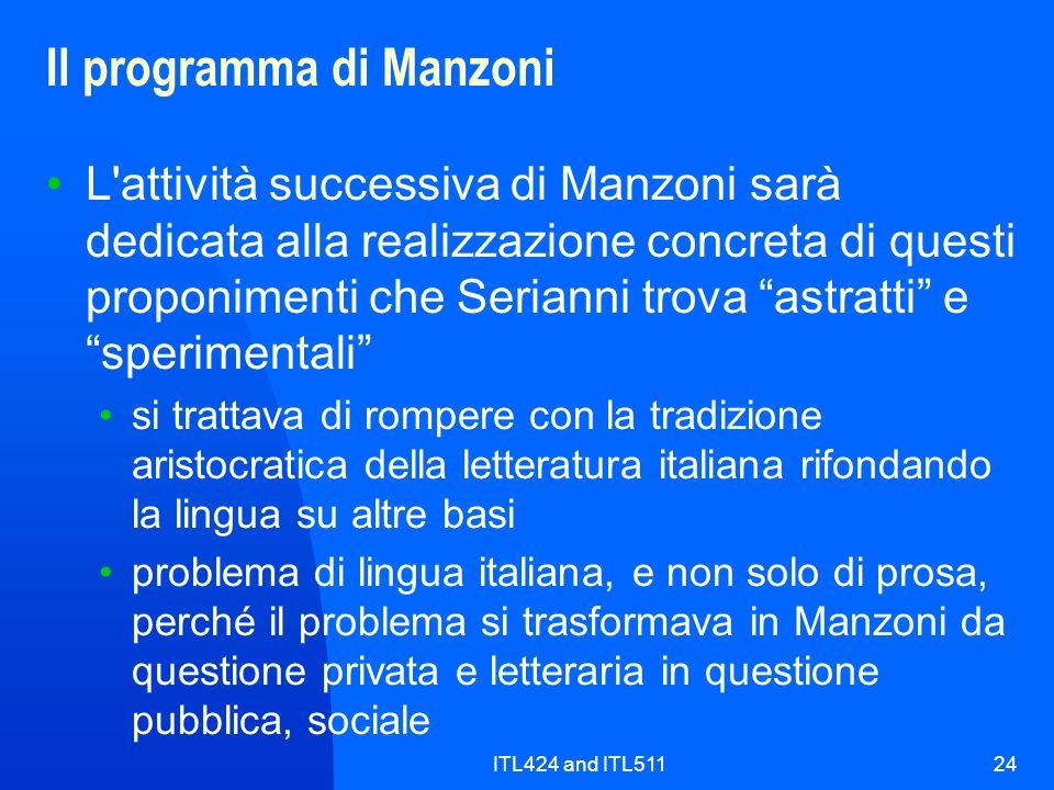 Il programma di Manzoni