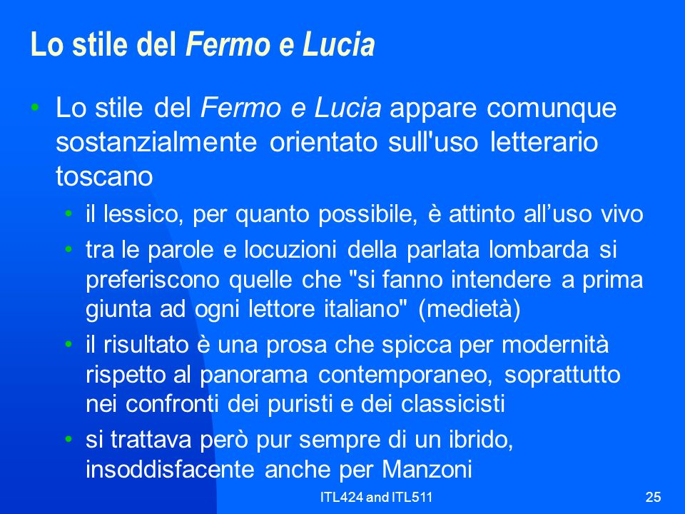 Lo stile del Fermo e Lucia