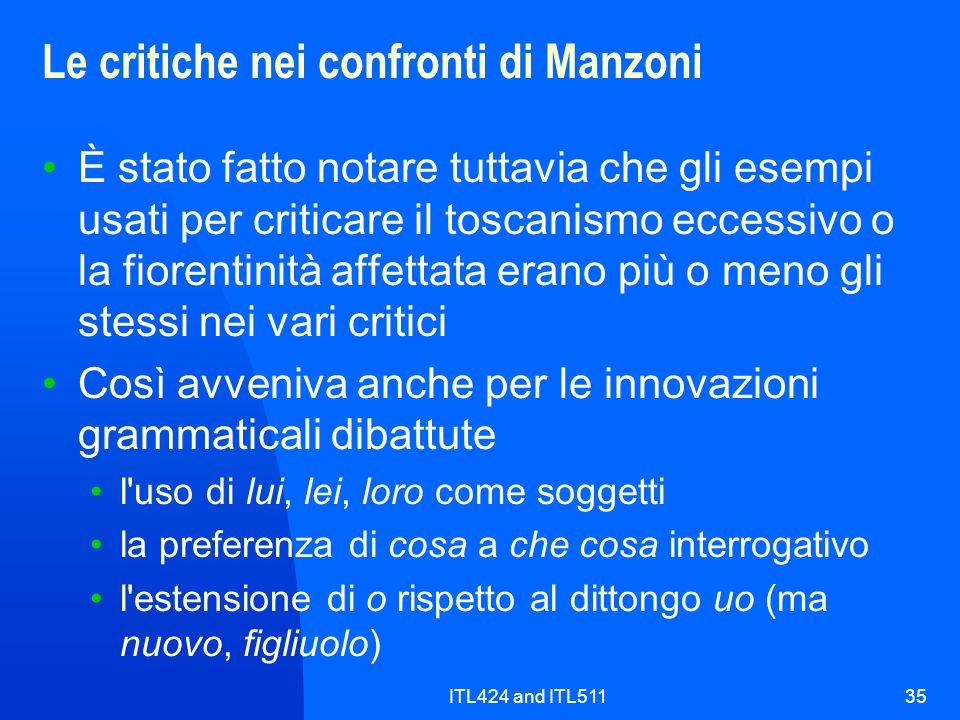 Le critiche nei confronti di Manzoni