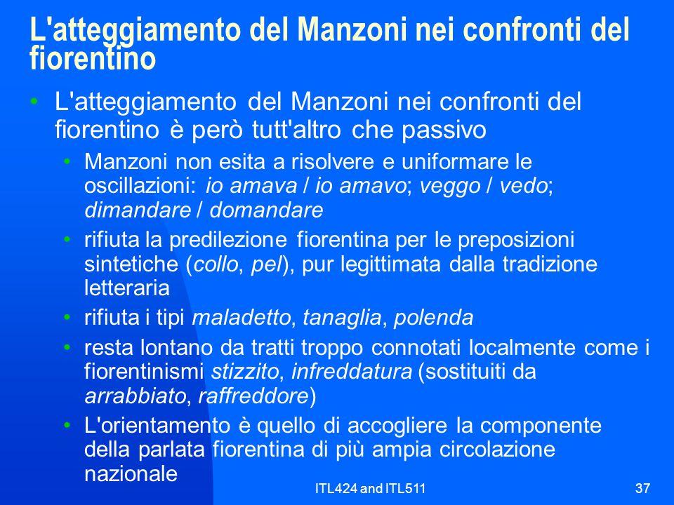 L atteggiamento del Manzoni nei confronti del fiorentino
