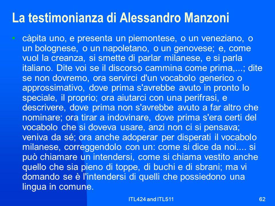 La testimonianza di Alessandro Manzoni
