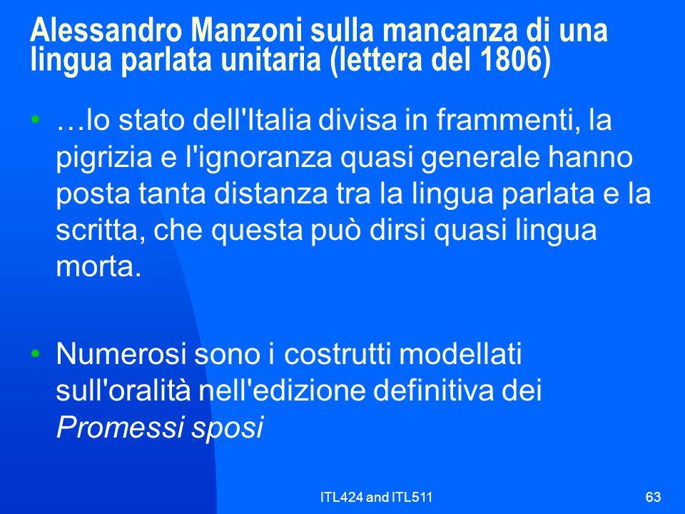 Alessandro Manzoni sulla mancanza di una lingua parlata unitaria (lettera del 1806)