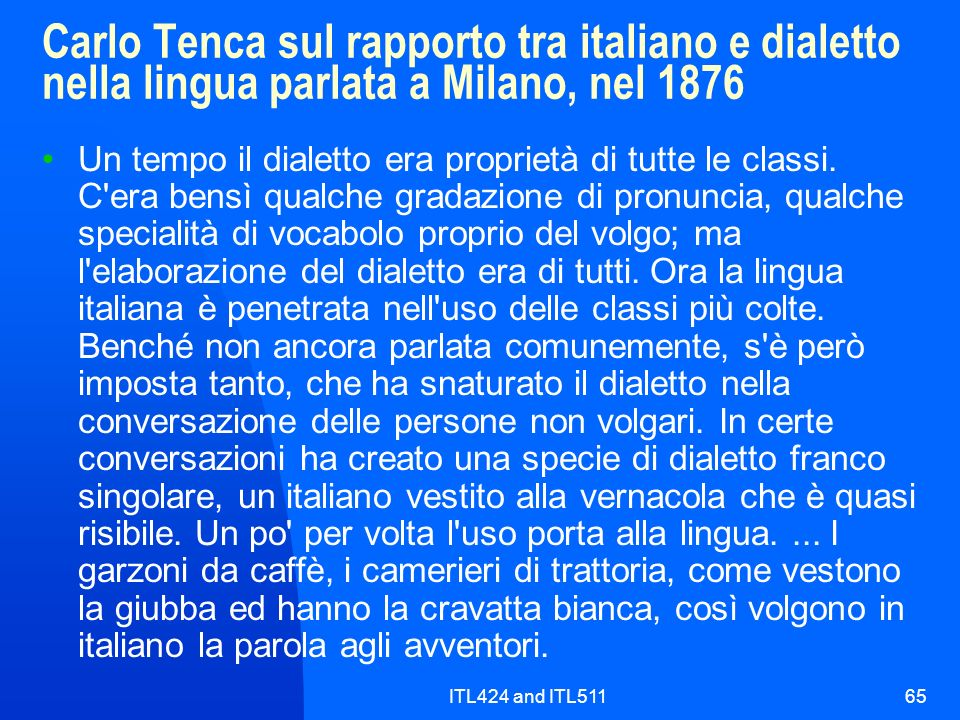 Carlo Tenca sul rapporto tra italiano e dialetto nella lingua parlata a Milano, nel 1876