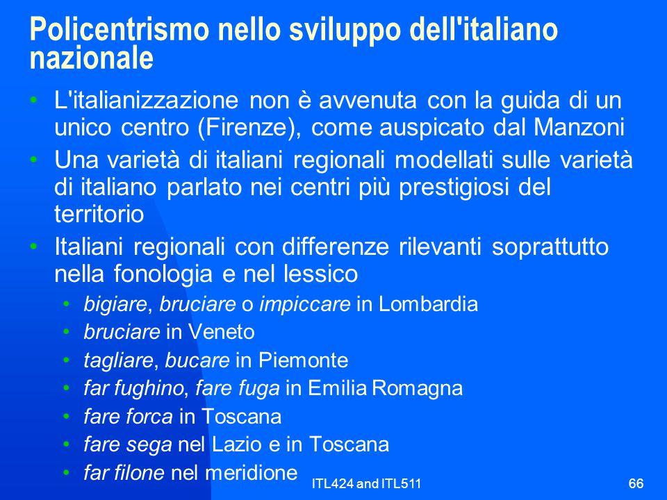 Policentrismo nello sviluppo dell italiano nazionale