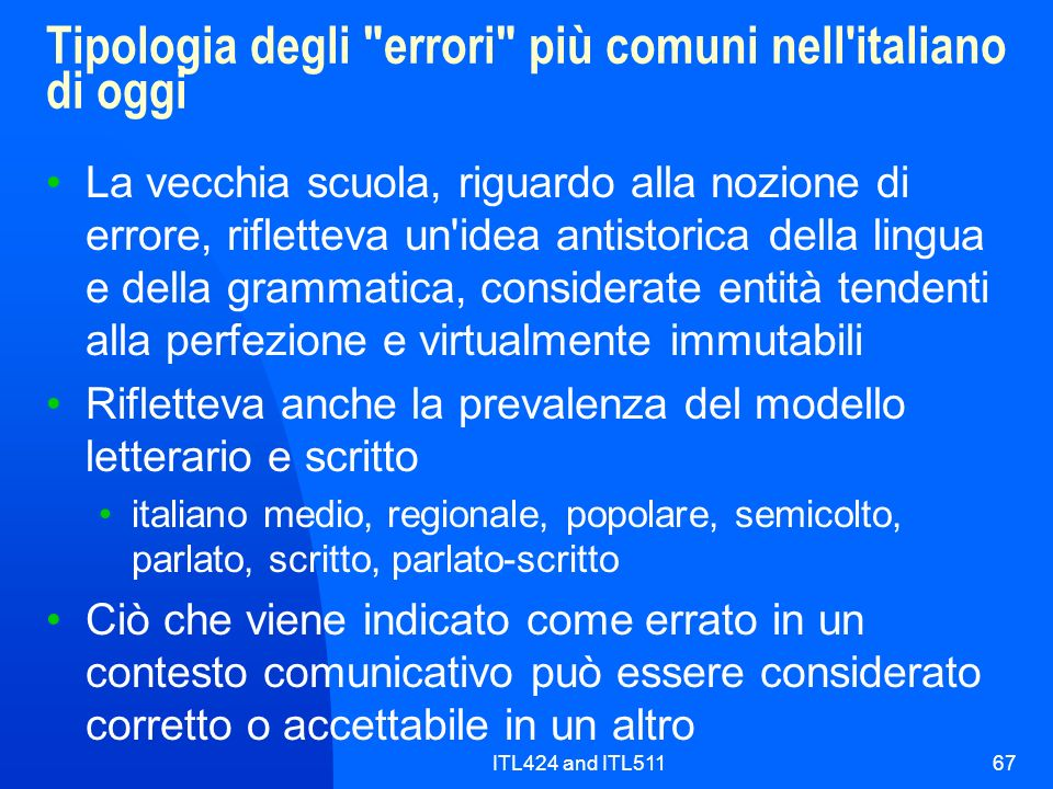 Tipologia degli errori più comuni nell italiano di oggi