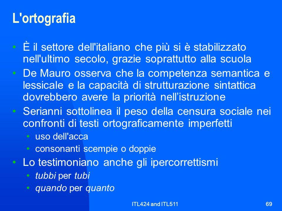 L ortografia È il settore dell italiano che più si è stabilizzato nell ultimo secolo, grazie soprattutto alla scuola.