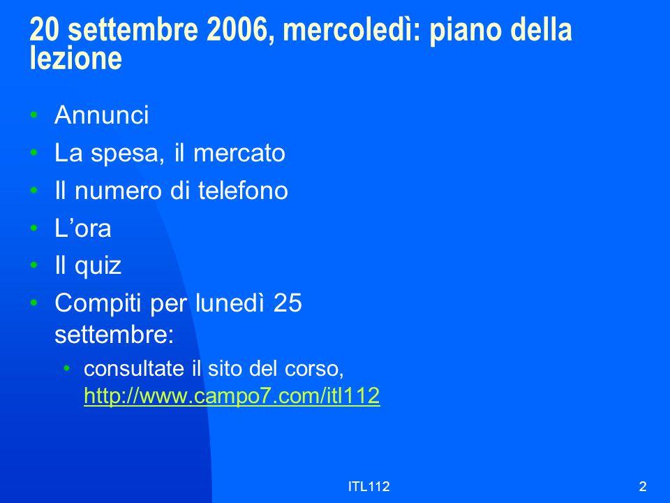 20 settembre 2006, mercoledì: piano della lezione