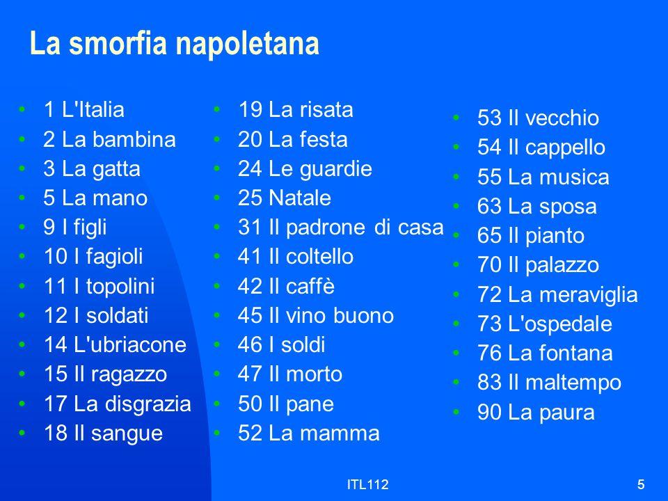La smorfia napoletana 1 L Italia 2 La bambina 3 La gatta 5 La mano