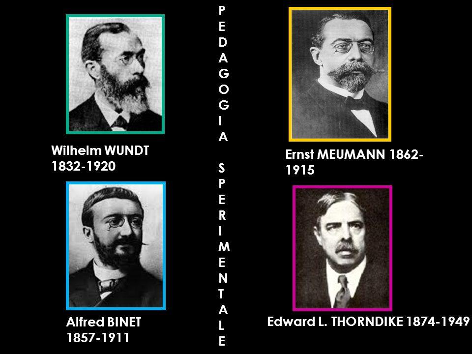 PE. D. A. G. O. I. S. R. M. N. T. L. Wilhelm WUNDT 1832-1920. Ernst MEUMANN 1862-1915. Alfred BINET 1857-1911.