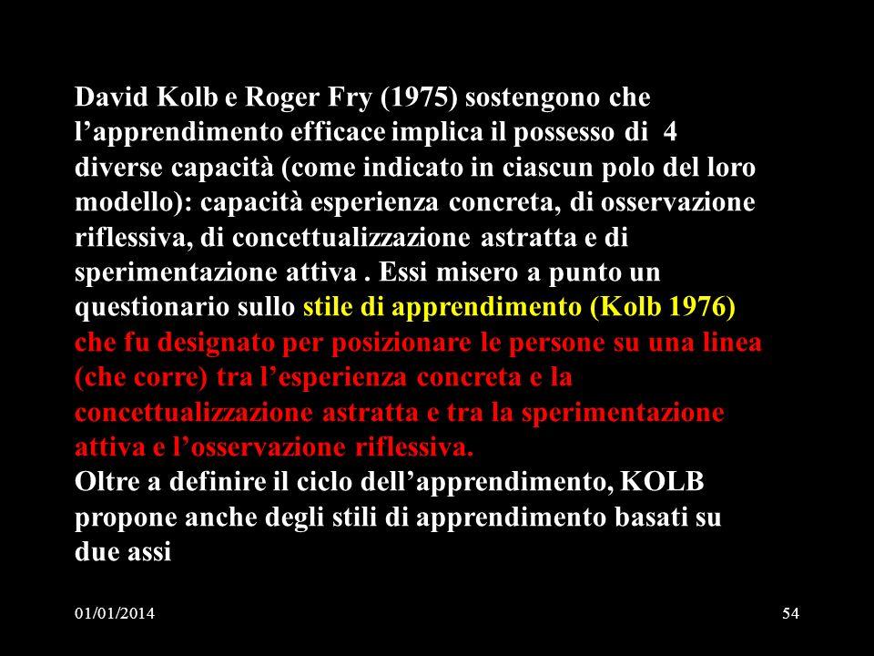 David Kolb e Roger Fry (1975) sostengono che l'apprendimento efficace implica il possesso di 4 diverse capacità (come indicato in ciascun polo del loro modello): capacità esperienza concreta, di osservazione riflessiva, di concettualizzazione astratta e di sperimentazione attiva . Essi misero a punto un questionario sullo stile di apprendimento (Kolb 1976) che fu designato per posizionare le persone su una linea (che corre) tra l'esperienza concreta e la concettualizzazione astratta e tra la sperimentazione attiva e l'osservazione riflessiva.