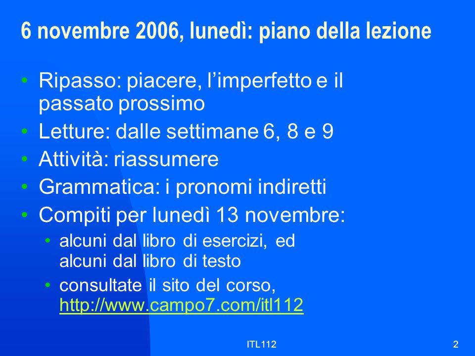 6 novembre 2006, lunedì: piano della lezione