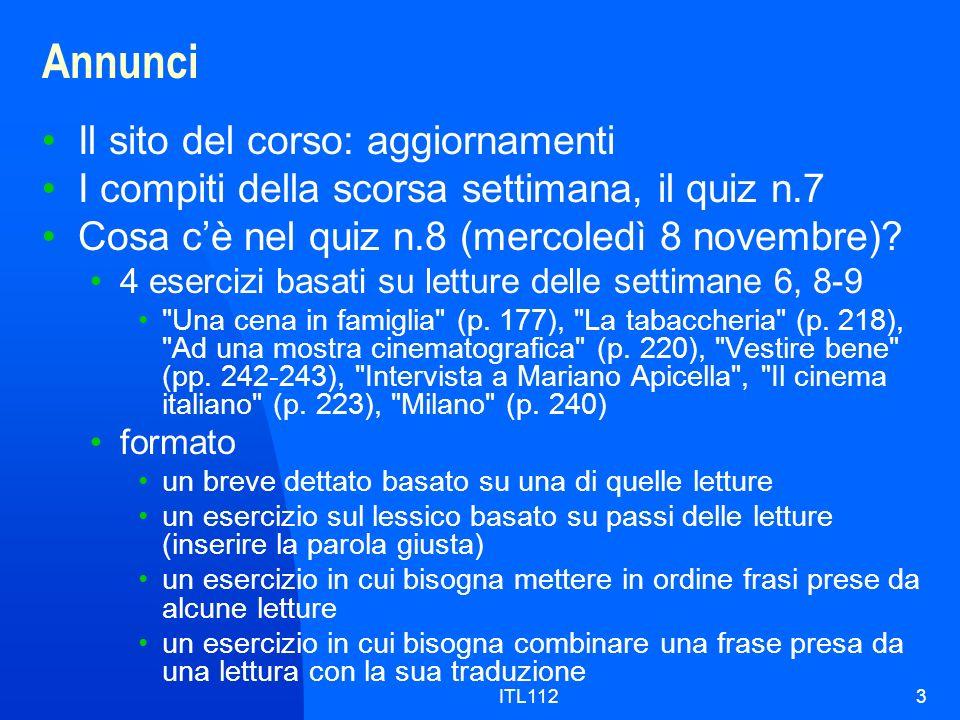Annunci Il sito del corso: aggiornamenti