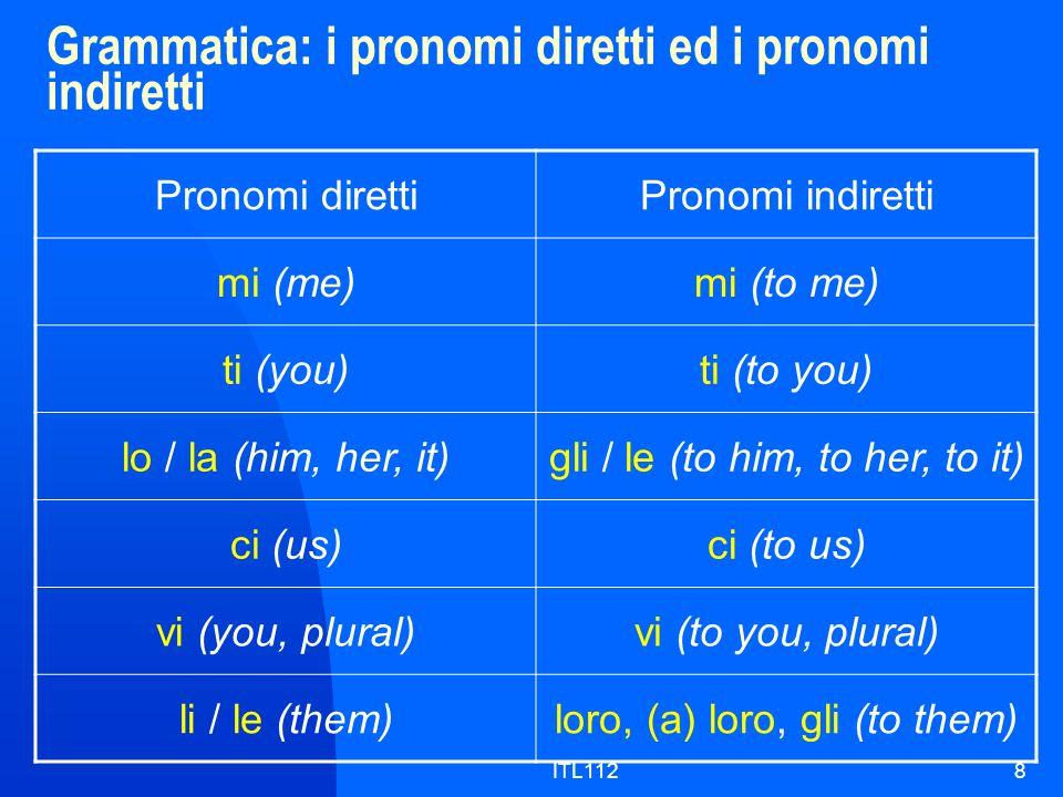 Grammatica: i pronomi diretti ed i pronomi indiretti