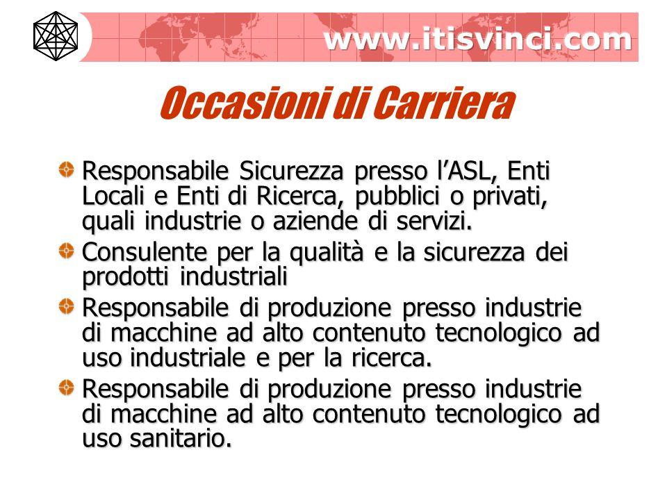 Occasioni di Carriera Responsabile Sicurezza presso l'ASL, Enti Locali e Enti di Ricerca, pubblici o privati, quali industrie o aziende di servizi.