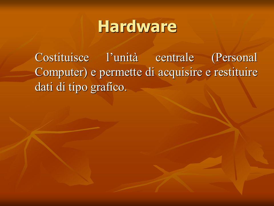 Hardware Costituisce l'unità centrale (Personal Computer) e permette di acquisire e restituire dati di tipo grafico.