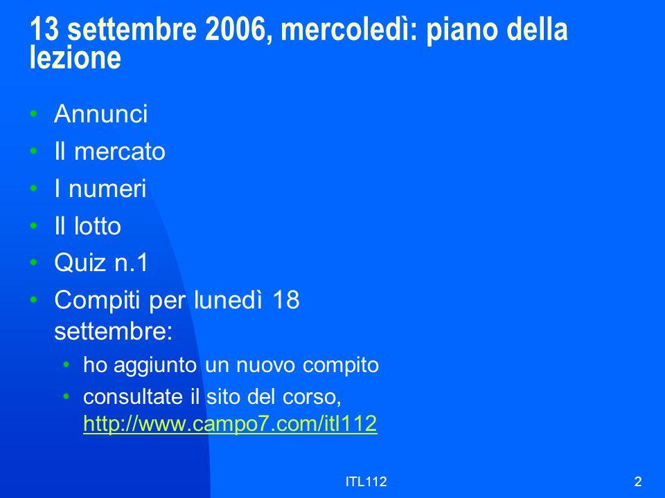 13 settembre 2006, mercoledì: piano della lezione