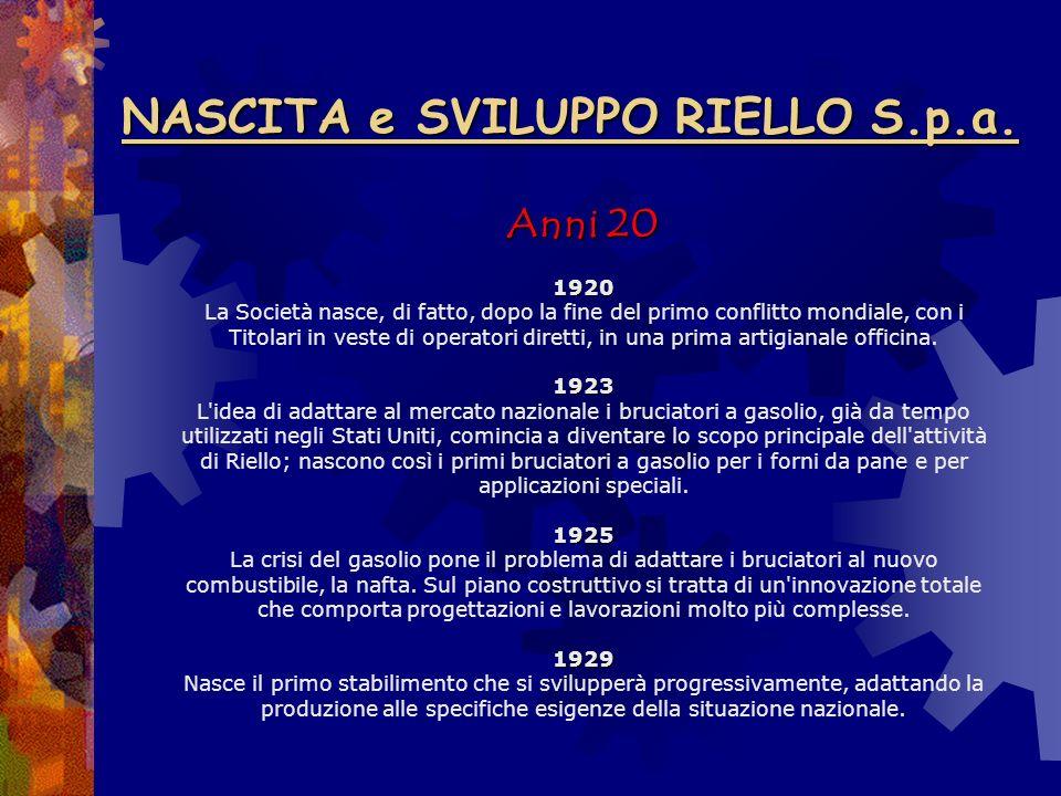 NASCITA e SVILUPPO RIELLO S.p.a.