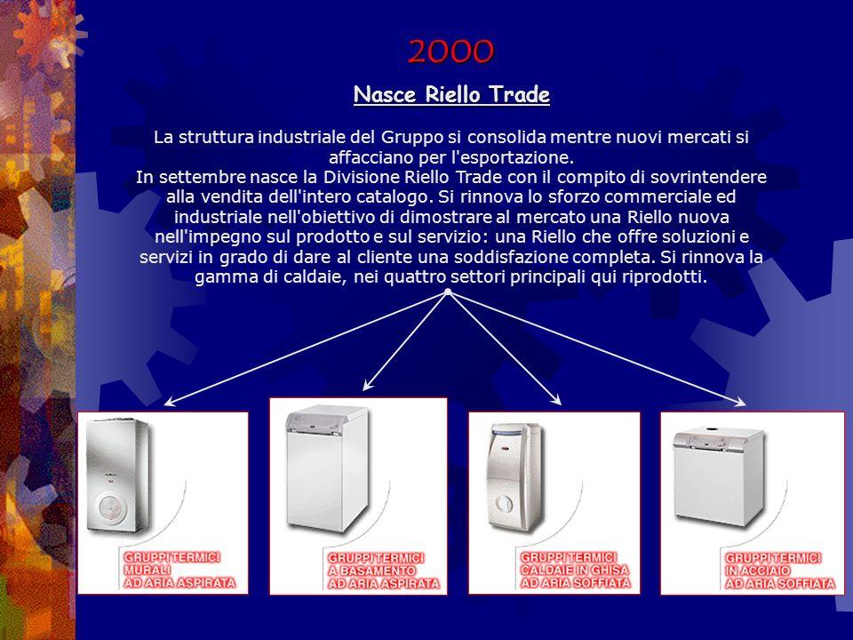 2000 Nasce Riello Trade La struttura industriale del Gruppo si consolida mentre nuovi mercati si affacciano per l esportazione.