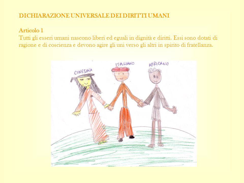 DICHIARAZIONE UNIVERSALE DEI DIRITTI UMANI Articolo 1 Tutti gli esseri umani nascono liberi ed eguali in dignità e diritti.