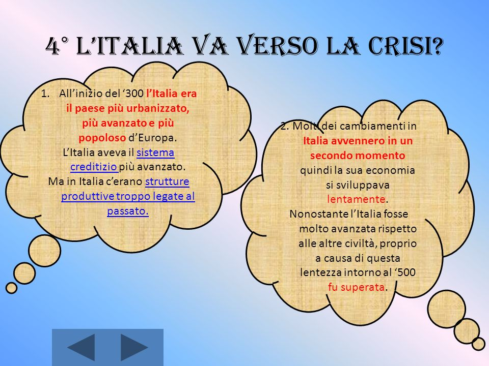 4° L'Italia va verso la crisi