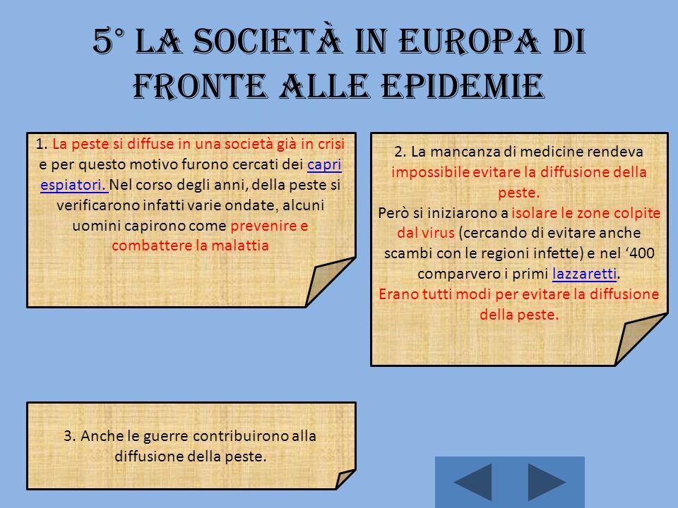 5° La società in Europa di fronte alle epidemie