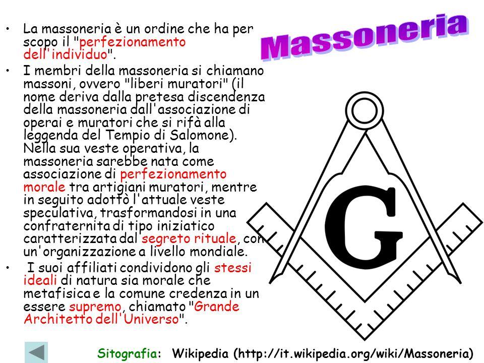 Massoneria La massoneria è un ordine che ha per scopo il perfezionamento dell individuo .