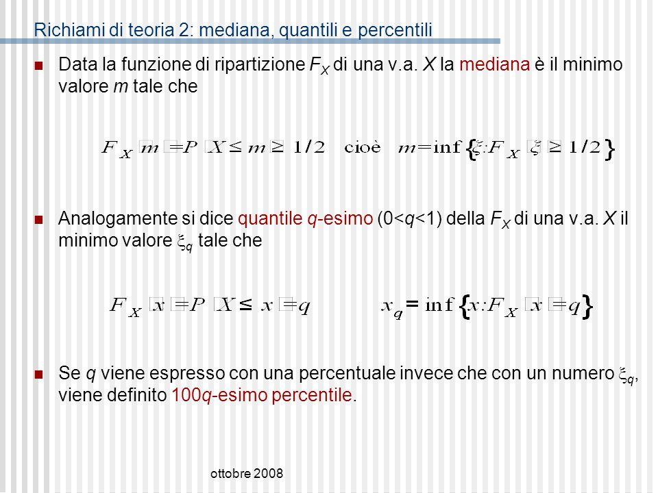 Richiami di teoria 2: mediana, quantili e percentili