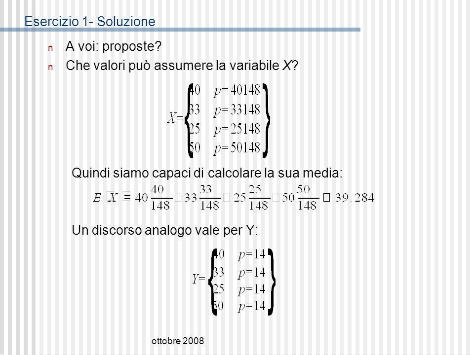 Che valori può assumere la variabile X