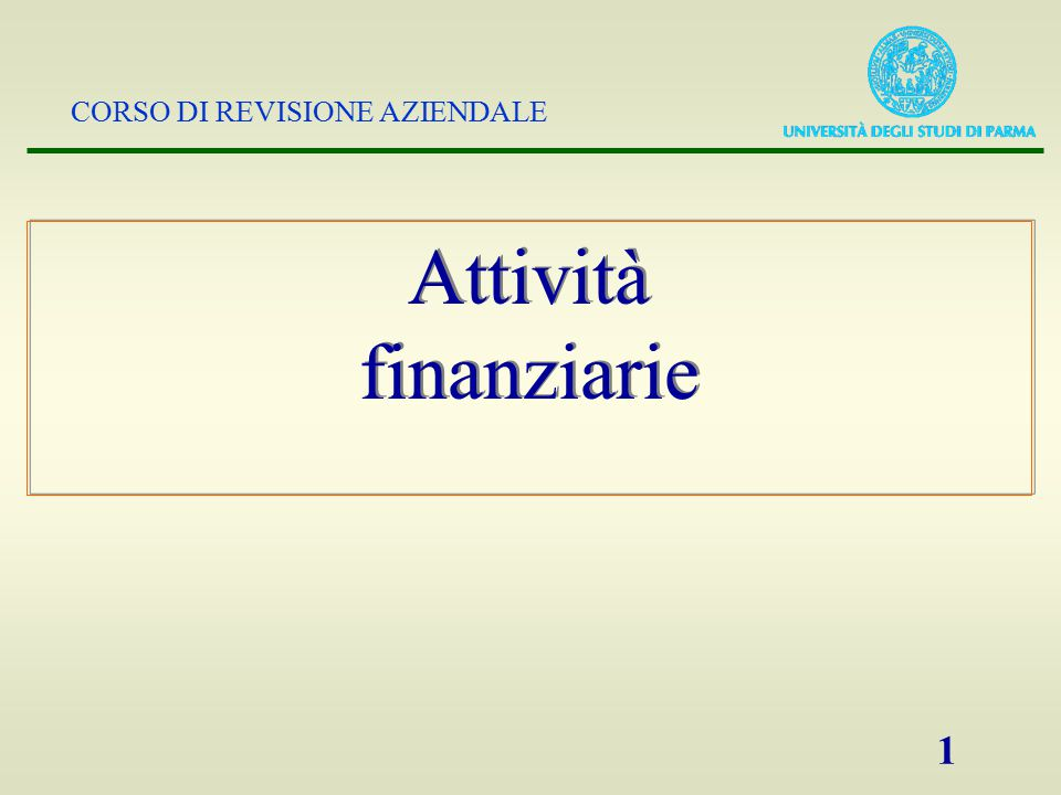 Attività finanziarie