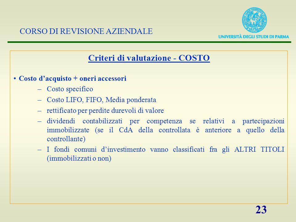 Criteri di valutazione - COSTO