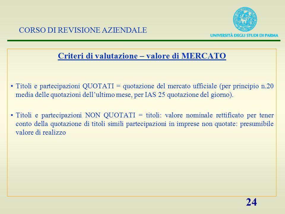 Criteri di valutazione – valore di MERCATO