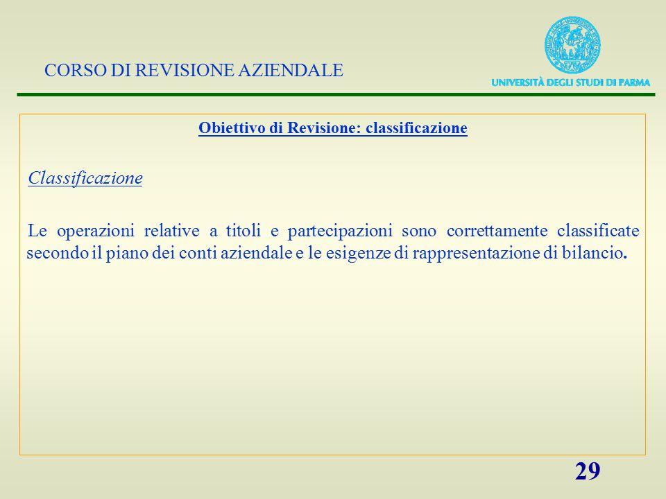 Obiettivo di Revisione: classificazione