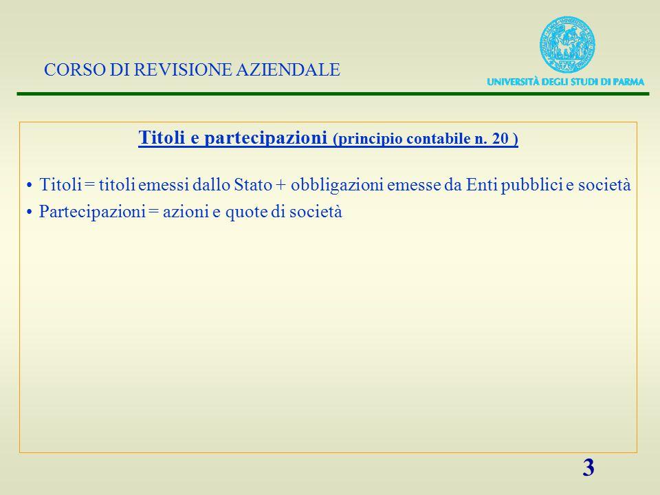Titoli e partecipazioni (principio contabile n. 20 )