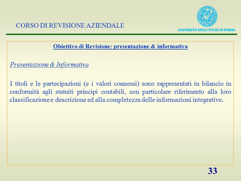 Obiettivo di Revisione: presentazione & informativa