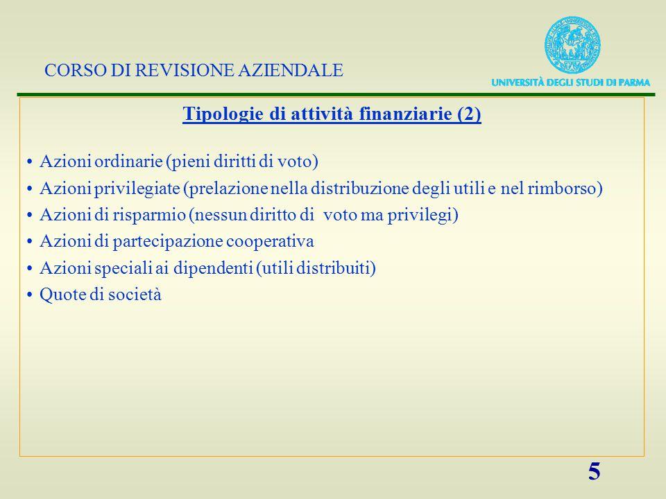 Tipologie di attività finanziarie (2)