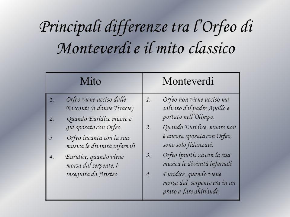 Principali differenze tra l'Orfeo di Monteverdi e il mito classico