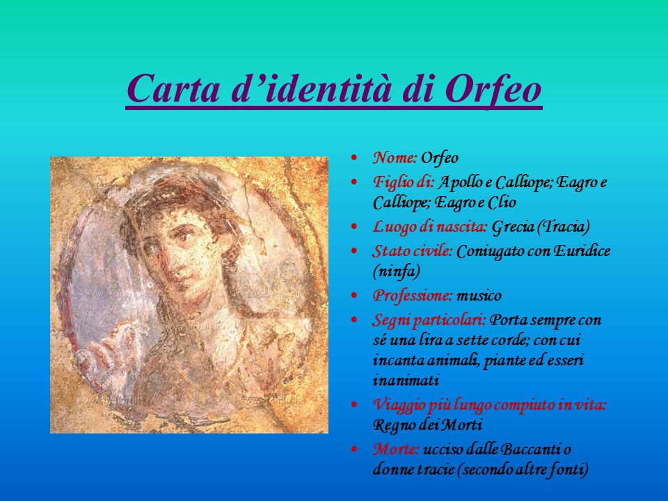 Carta d'identità di Orfeo