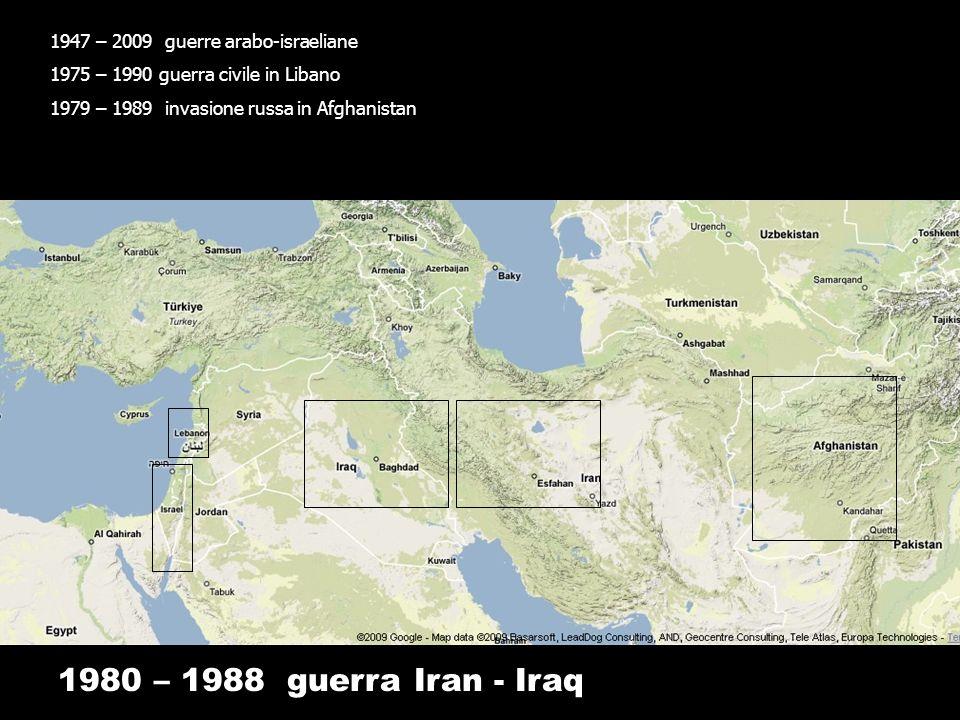 1980 – 1988 guerra Iran - Iraq 1947 – 2009 guerre arabo-israeliane