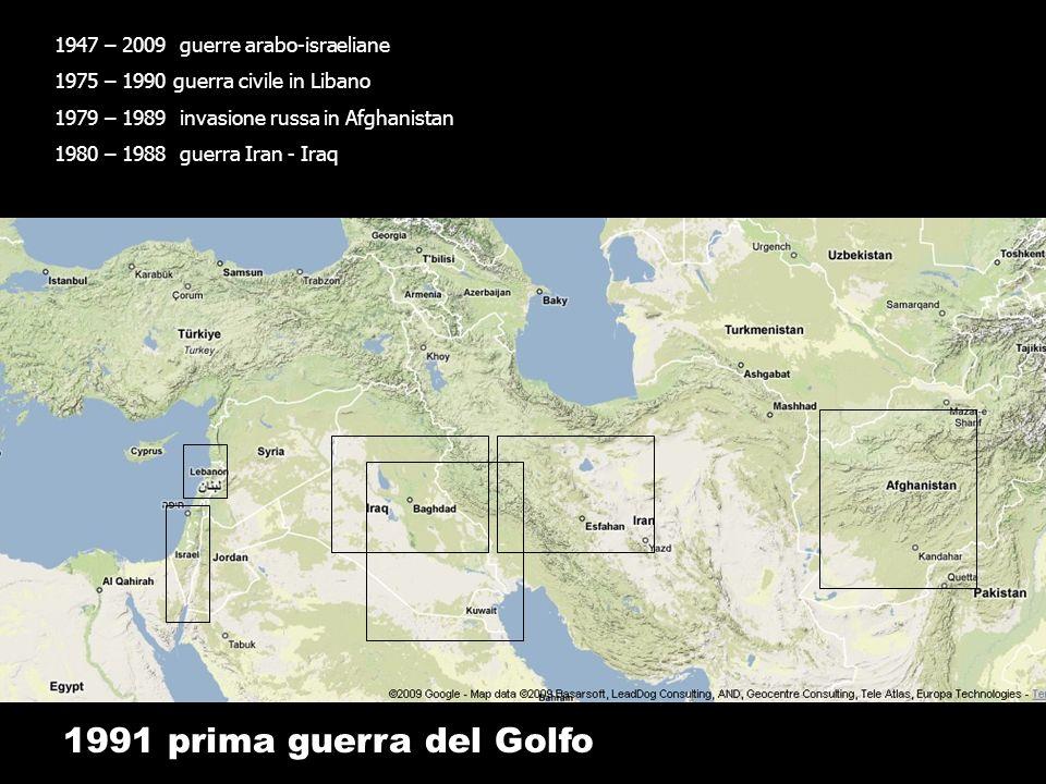 1991 prima guerra del Golfo 1947 – 2009 guerre arabo-israeliane