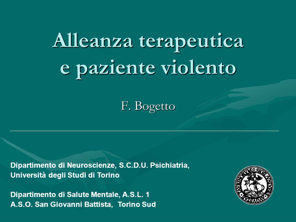 Alleanza terapeutica e paziente violento