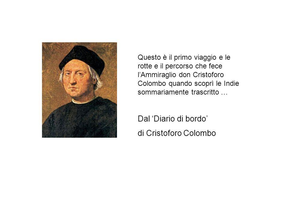 Dal 'Diario di bordo' di Cristoforo Colombo