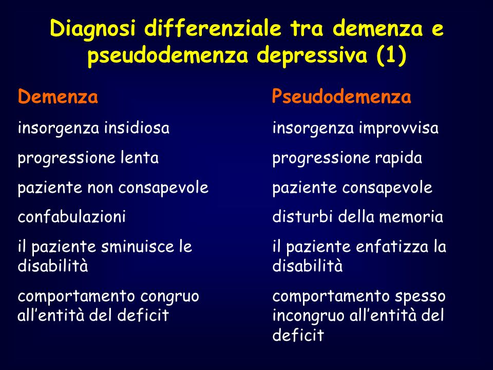 Diagnosi differenziale tra demenza e pseudodemenza depressiva (1)