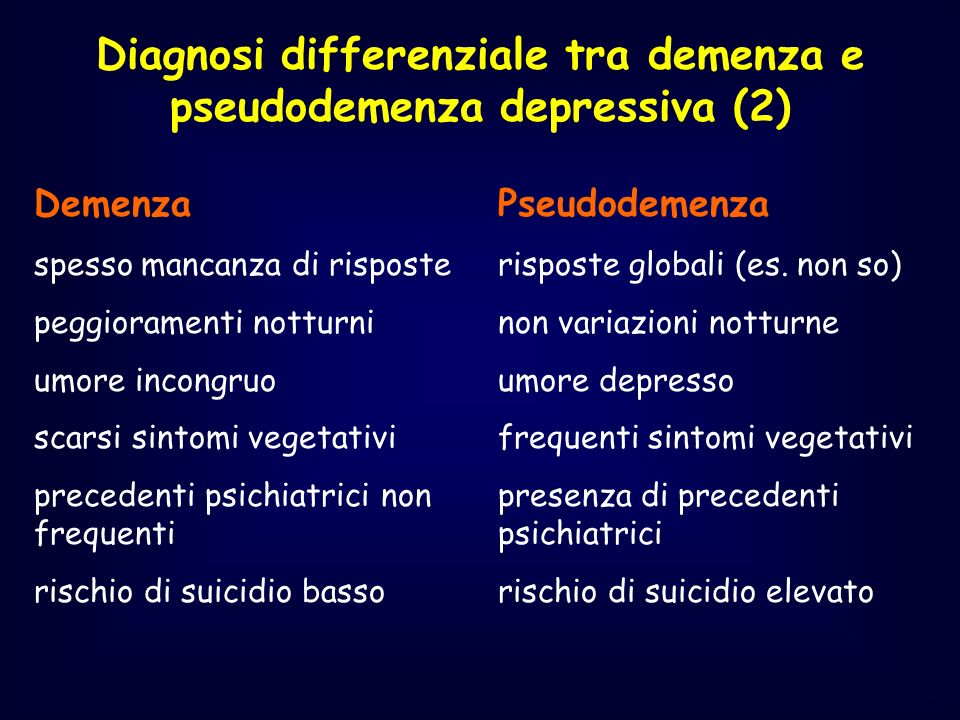 Diagnosi differenziale tra demenza e pseudodemenza depressiva (2)