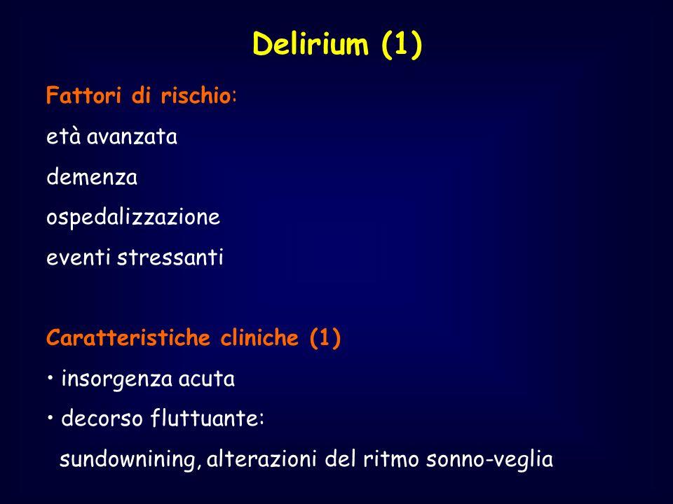Delirium (1) Fattori di rischio: età avanzata demenza ospedalizzazione