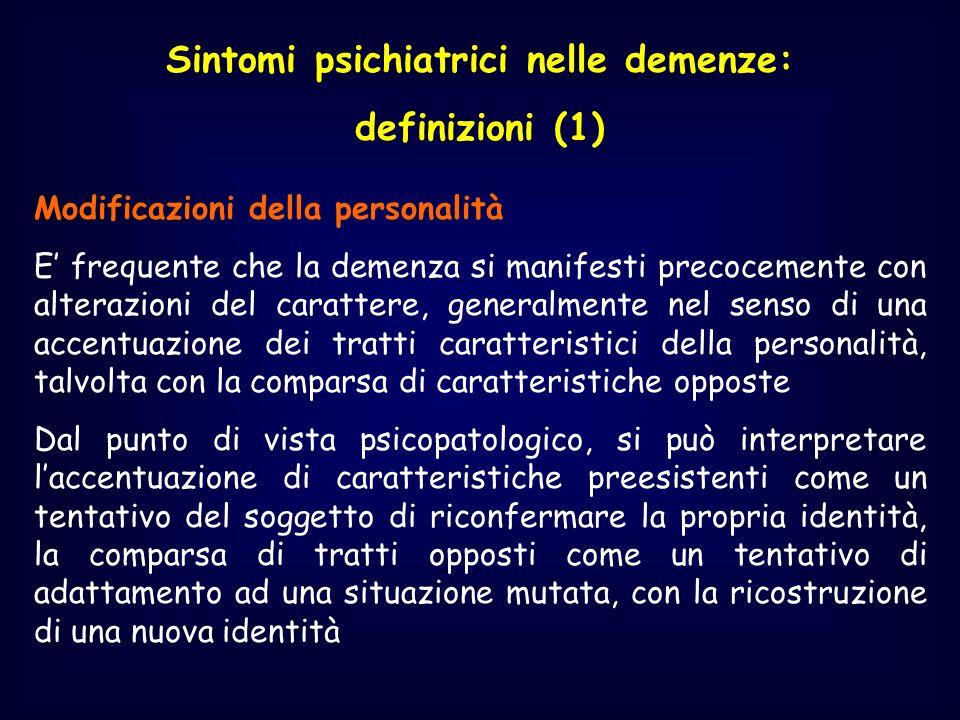 Sintomi psichiatrici nelle demenze: