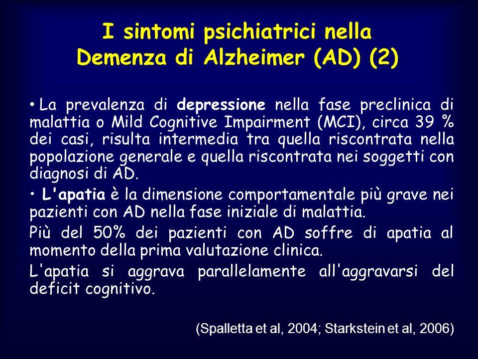 I sintomi psichiatrici nella Demenza di Alzheimer (AD) (2)