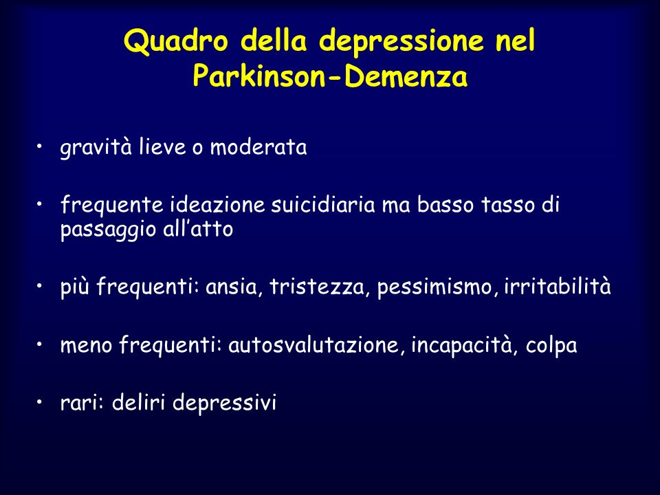 Quadro della depressione nel Parkinson-Demenza