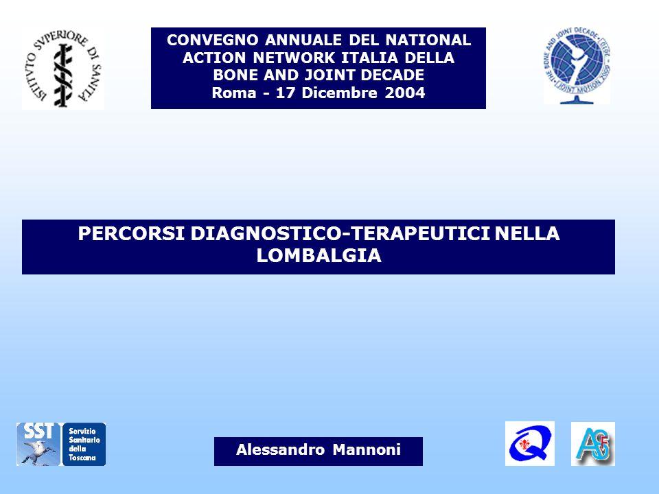 PERCORSI DIAGNOSTICO-TERAPEUTICI NELLA LOMBALGIA